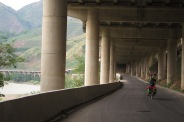 Cycling under the motorway...and nobody else on the road!