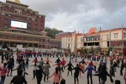 Tibetan dancing on the main square in Shangri-la