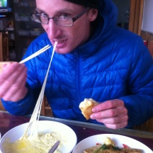 Raclette with chopsticks